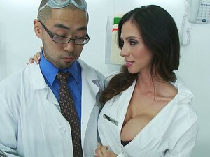 A naughty and very hot big boobed nurse wows the new Asian doctor into riding her