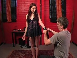Skinny girl shackled in his dungeon