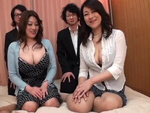 Three Japanese hotties have a cock-riding competition indoors
