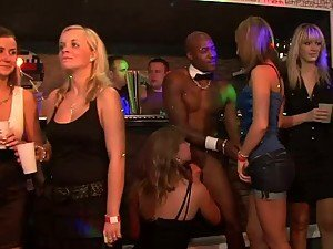 Party Girls Go Crazy For Stripper's Cock At Crazy Group Sex