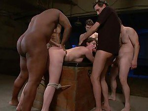 Hot brunette Chokes On Fat Cocks In A Gangbang