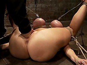 Huge Busty Ass Slut Hogtied and Fisted By The Best