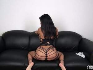 Busty Latina hottie Alexis Amore slips out of her slinky slit dress and masturbates