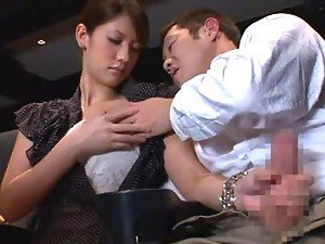 Beautiful Kotomi Nagisa gives a handjob in the cinema