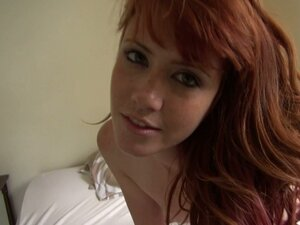 Freckle redhead teen Elle Alexandra pleasing her quim with vibrator
