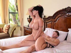 Holly Halston has massive hooters and likes to get fucked on the bed