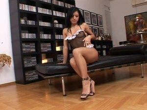 Kyra Black the hot brunette in high heels toys herself