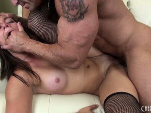 Muscular monster makes Rilynn Rae cry from that intensive cock-pushing