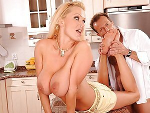 Sharon Pink has huge hot boobs and very sexy and agile feet. Check out this gallery to see how Sharon strokes and massages George's stiff cock, how George licks Sharon's sexy feet and her juicy pussy, how Sharon gets fucked in her wet cunt, and how she ge