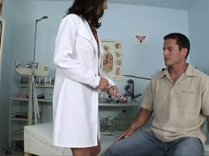 Doctor makes her male patient bend over for a strap-on fucking