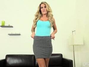 Blonde babe Jessa Rhodes gets interviewed and does a striptease