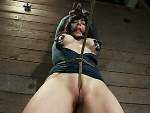Big titted milf tortured by crotch rope and monster cock while tied and hanged