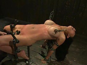 Machine Fucking Her Ass while Getting Her Nipples Tortured in BDSM Vid
