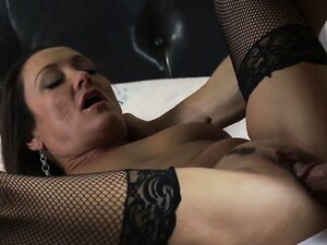 Horny bitch in black stockings take her first date home with her to fuck