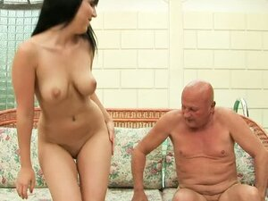 Old Man Giving a Great Time to a Busty Brunette Teen's Shaved Pussy