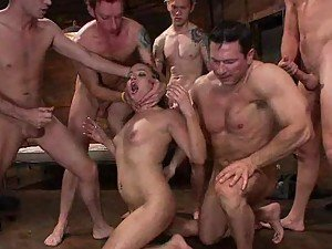 Every Single Hole of This Girl is Going to Be Fucked Hard in Gangbang