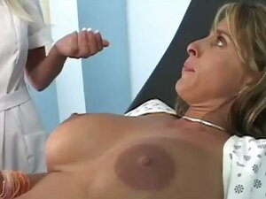 Holly was whining that her giant breasts were sore but the whining was replaced with moaning once the doctor began to apply a classic healing technique: a hard dick up the pussy and a hot shower of gooey cum all over those huge tits!