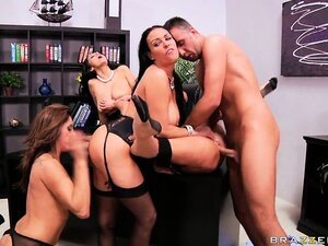 Office babes give her boss a day to remember as they have an orgy