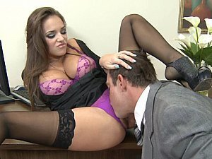The kinky looking secretary strikes again as she rides her boss' boner