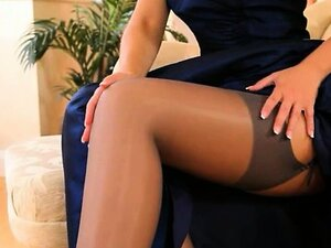 Blue shoes and sexy skirt and stockings