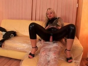 Leather pants girl grinds her body on his cock
