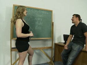 Sexy blonde MILF teaches daddy a hot pussy licking lesson in class