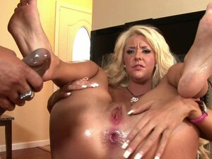 Blonde takes on a monster cock