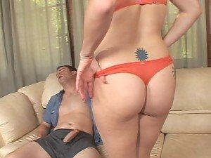 A big and beautiful blonde biatch goes to town on a sleeping guy's giggle stick