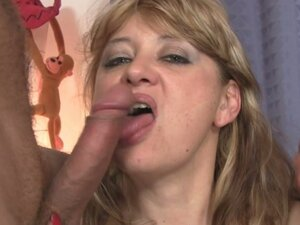 Blonde mature gets banged by two young studs
