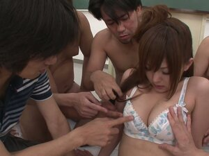 Petite Miku April is fondle banged in gang bang