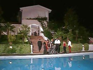 Hardcore group sex scene by the pool