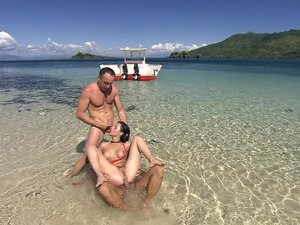 DP at the seashore threesome with horny Renata Black