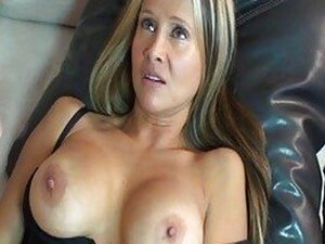 Whorish blonde milf in black lingerie gives meaty dick a blowjob