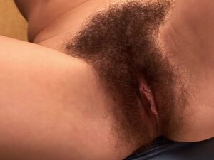 Pretty angel with hairy pussy is sucking his penis well