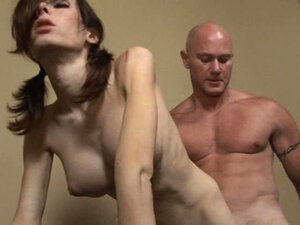 Bald strong guy fucks brunette sexy shemale. Hot video