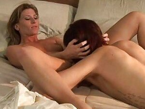 Short haired redhead and hot blonde having steemy sex scene in bedroom